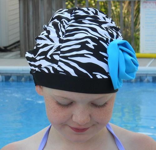 Fancy Ruched Zebra Print Lycra Swim Cap with Blue Flower
