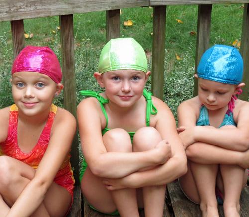 Sparkle swim caps