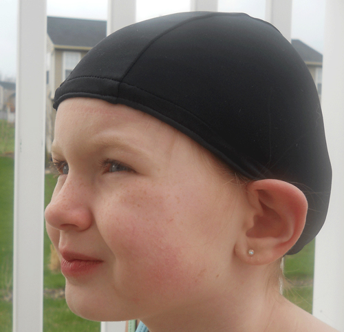 Black lycra swim cap