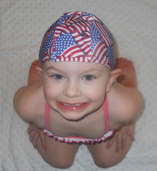 American Flag lycra swim cap