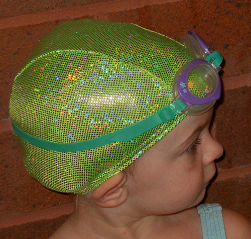 Lime Green Sparkle lycra swim cap