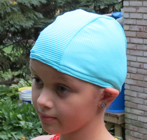 Aqua Blue Ribbed lycra swim cap