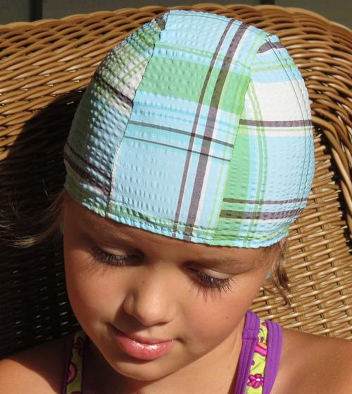 Clubhouse Plaid lycra swim cap