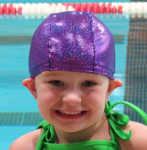 Purple Sparkle lycra swim cap