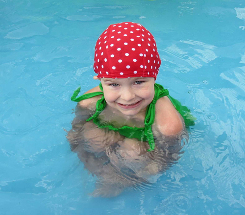 Red Polka Dot lycra Swim Cap