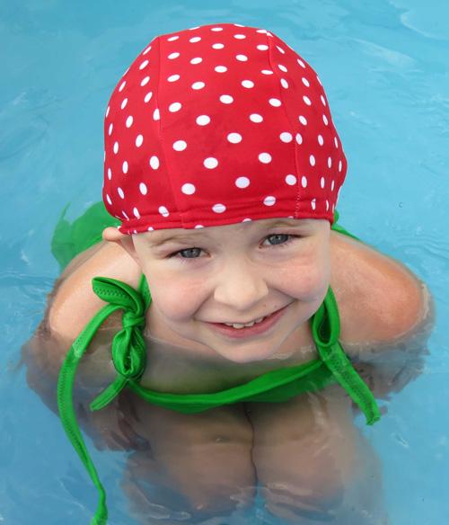 Red Polka Dot lycra Swim Cap