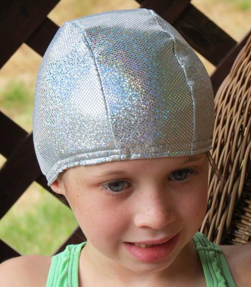 Silver Sparkle lycra swim cap