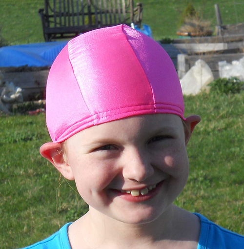 Bright Pink lycra swim cap