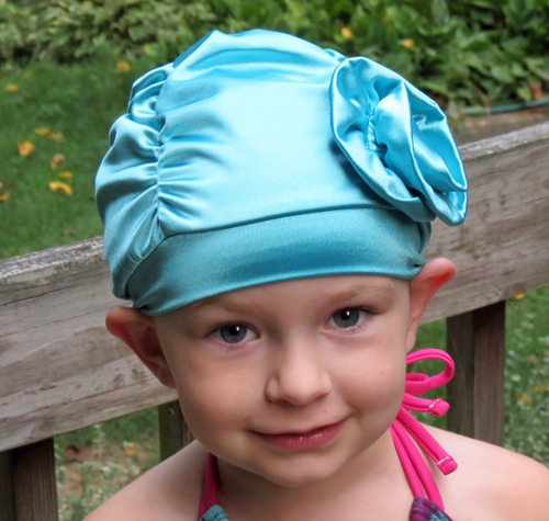 Fancy Ruched Aqua Blue Lycra Swim Cap with Flower