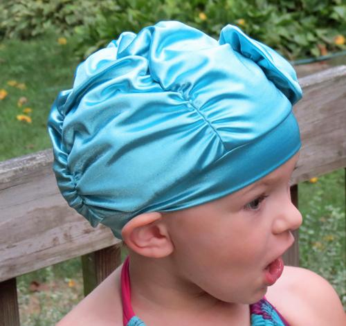 Fancy Ruched Aqua Blue Lycra Swim Cap with Flower