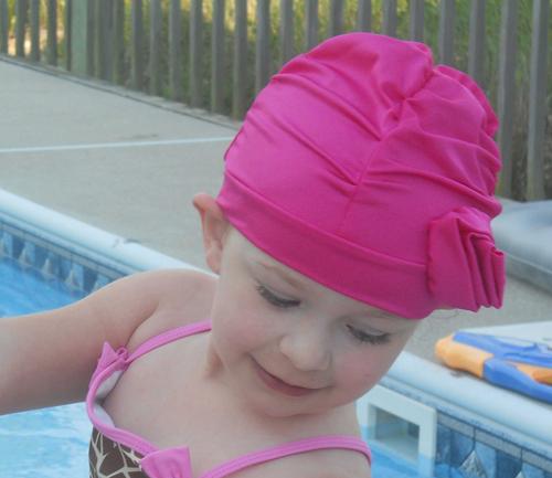 Fancy Ruched Hot Pink Flower lycra swim cap